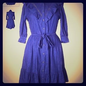 Kate spade blue shirt button up dress 3/4 sleeve